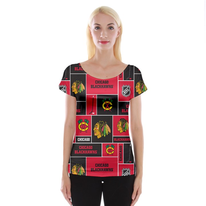 Chicago Blackhawks Nhl Block Fleece Fabric Women s Cap Sleeve Top