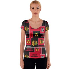 Chicago Blackhawks Nhl Block Fleece Fabric Women s V-Neck Cap Sleeve Top
