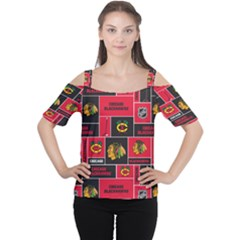 Chicago Blackhawks Nhl Block Fleece Fabric Women s Cutout Shoulder Tee