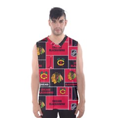 Chicago Blackhawks Nhl Block Fleece Fabric Men s Basketball Tank Top