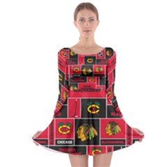 Chicago Blackhawks Nhl Block Fleece Fabric Long Sleeve Skater Dress