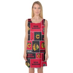 Chicago Blackhawks Nhl Block Fleece Fabric Sleeveless Satin Nightdress