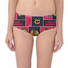 Chicago Blackhawks Nhl Block Fleece Fabric Mid-Waist Bikini Bottoms