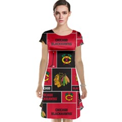 Chicago Blackhawks Nhl Block Fleece Fabric Cap Sleeve Nightdress