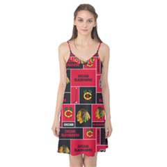 Chicago Blackhawks Nhl Block Fleece Fabric Camis Nightgown