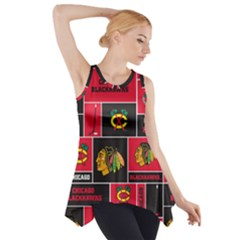 Chicago Blackhawks Nhl Block Fleece Fabric Side Drop Tank Tunic