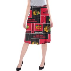 Chicago Blackhawks Nhl Block Fleece Fabric Midi Beach Skirt