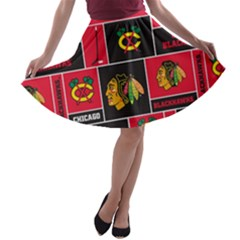Chicago Blackhawks Nhl Block Fleece Fabric A Line Skater Skirt