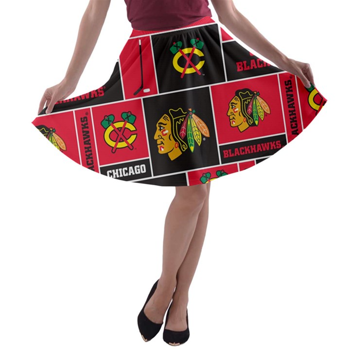 Chicago Blackhawks Nhl Block Fleece Fabric A-line Skater Skirt