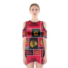 Chicago Blackhawks Nhl Block Fleece Fabric Cutout Shoulder Dress