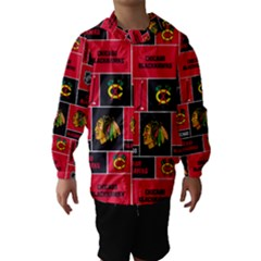Chicago Blackhawks Nhl Block Fleece Fabric Hooded Wind Breaker (kids)