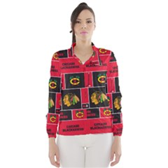 Chicago Blackhawks Nhl Block Fleece Fabric Wind Breaker (women)