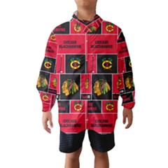 Chicago Blackhawks Nhl Block Fleece Fabric Wind Breaker (Kids)