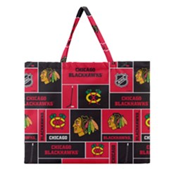 Chicago Blackhawks Nhl Block Fleece Fabric Zipper Large Tote Bag