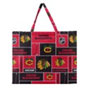 Chicago Blackhawks Nhl Block Fleece Fabric Zipper Large Tote Bag View1