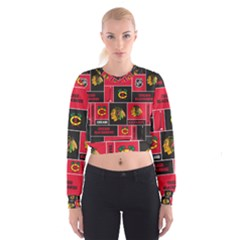 Chicago Blackhawks Nhl Block Fleece Fabric Women s Cropped Sweatshirt