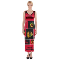 Chicago Blackhawks Nhl Block Fleece Fabric Fitted Maxi Dress