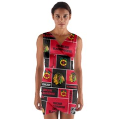 Chicago Blackhawks Nhl Block Fleece Fabric Wrap Front Bodycon Dress
