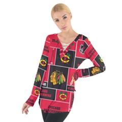 Chicago Blackhawks Nhl Block Fleece Fabric Women s Tie Up Tee