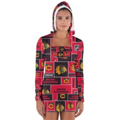 Chicago Blackhawks Nhl Block Fleece Fabric Women s Long Sleeve Hooded T-shirt