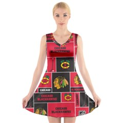 Chicago Blackhawks Nhl Block Fleece Fabric V-Neck Sleeveless Skater Dress