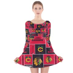 Chicago Blackhawks Nhl Block Fleece Fabric Long Sleeve Velvet Skater Dress