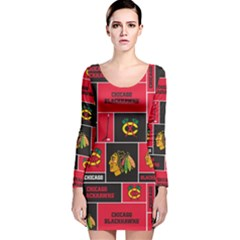 Chicago Blackhawks Nhl Block Fleece Fabric Long Sleeve Velvet Bodycon Dress
