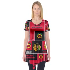 Chicago Blackhawks Nhl Block Fleece Fabric Short Sleeve Tunic