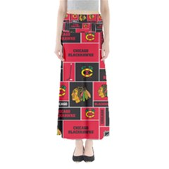 Chicago Blackhawks Nhl Block Fleece Fabric Maxi Skirts
