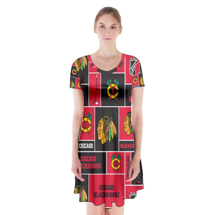 Chicago Blackhawks Nhl Block Fleece Fabric Short Sleeve V-neck Flare Dress