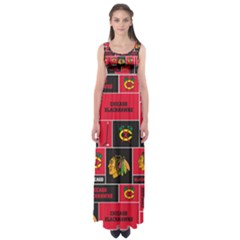 Chicago Blackhawks Nhl Block Fleece Fabric Empire Waist Maxi Dress
