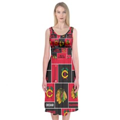 Chicago Blackhawks Nhl Block Fleece Fabric Midi Sleeveless Dress