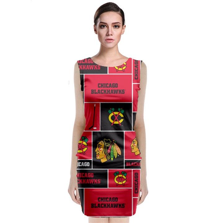 Chicago Blackhawks Nhl Block Fleece Fabric Classic Sleeveless Midi Dress