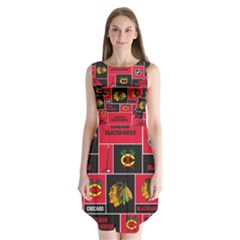 Chicago Blackhawks Nhl Block Fleece Fabric Sleeveless Chiffon Dress