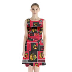 Chicago Blackhawks Nhl Block Fleece Fabric Sleeveless Chiffon Waist Tie Dress