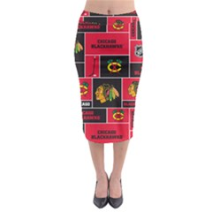Chicago Blackhawks Nhl Block Fleece Fabric Midi Pencil Skirt