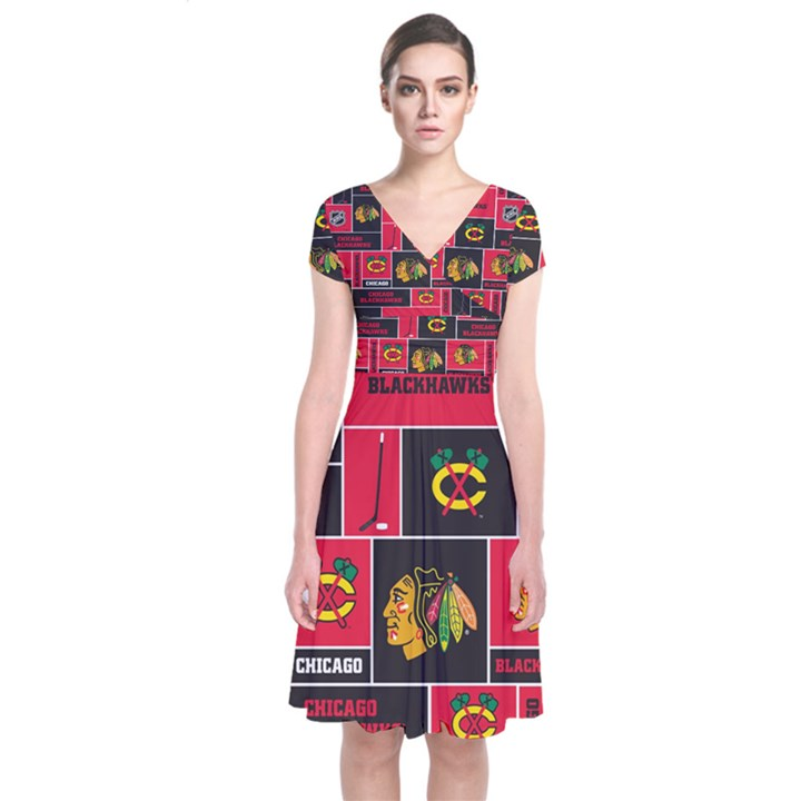 Chicago Blackhawks Nhl Block Fleece Fabric Short Sleeve Front Wrap Dress