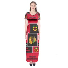 Chicago Blackhawks Nhl Block Fleece Fabric Short Sleeve Maxi Dress