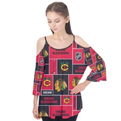 Chicago Blackhawks Nhl Block Fleece Fabric Flutter Tees