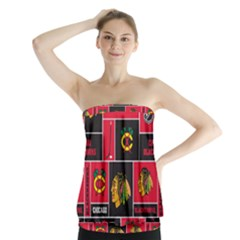 Chicago Blackhawks Nhl Block Fleece Fabric Strapless Top
