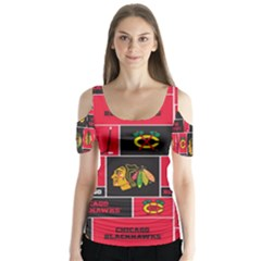 Chicago Blackhawks Nhl Block Fleece Fabric Butterfly Sleeve Cutout Tee