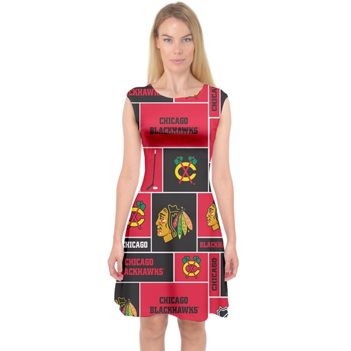 Chicago Blackhawks Nhl Block Fleece Fabric Capsleeve Midi Dress