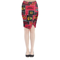Chicago Blackhawks Nhl Block Fleece Fabric Midi Wrap Pencil Skirt