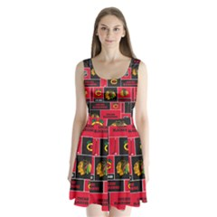 Chicago Blackhawks Nhl Block Fleece Fabric Split Back Mini Dress