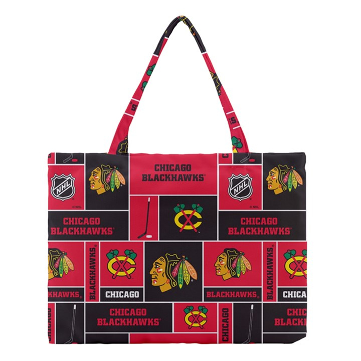 Chicago Blackhawks Nhl Block Fleece Fabric Medium Tote Bag