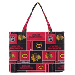 Chicago Blackhawks Nhl Block Fleece Fabric Medium Zipper Tote Bag