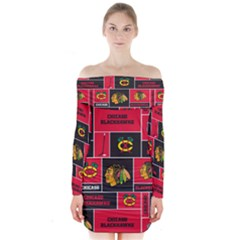 Chicago Blackhawks Nhl Block Fleece Fabric Long Sleeve Off Shoulder Dress