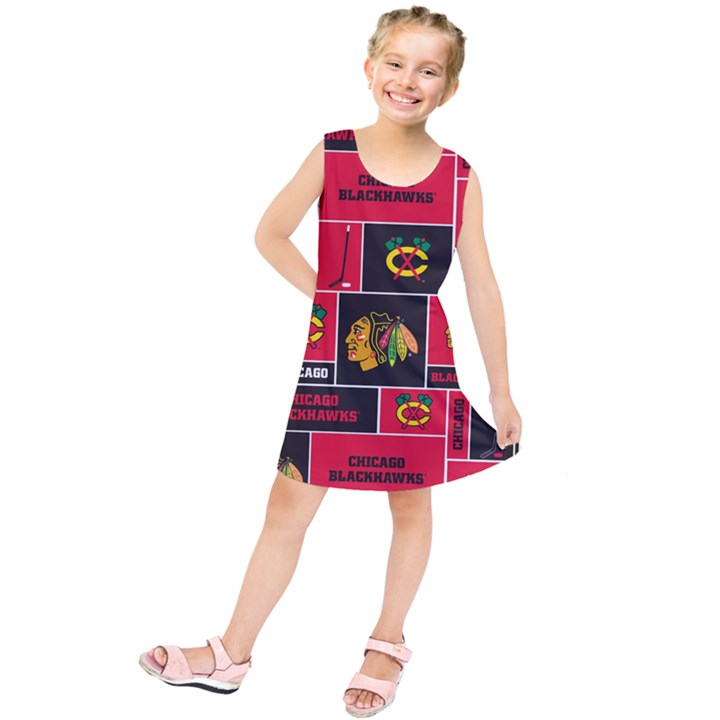 Chicago Blackhawks Nhl Block Fleece Fabric Kids  Tunic Dress