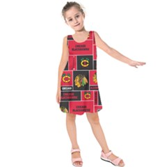 Chicago Blackhawks Nhl Block Fleece Fabric Kids  Sleeveless Dress
