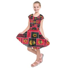 Chicago Blackhawks Nhl Block Fleece Fabric Kids  Short Sleeve Dress